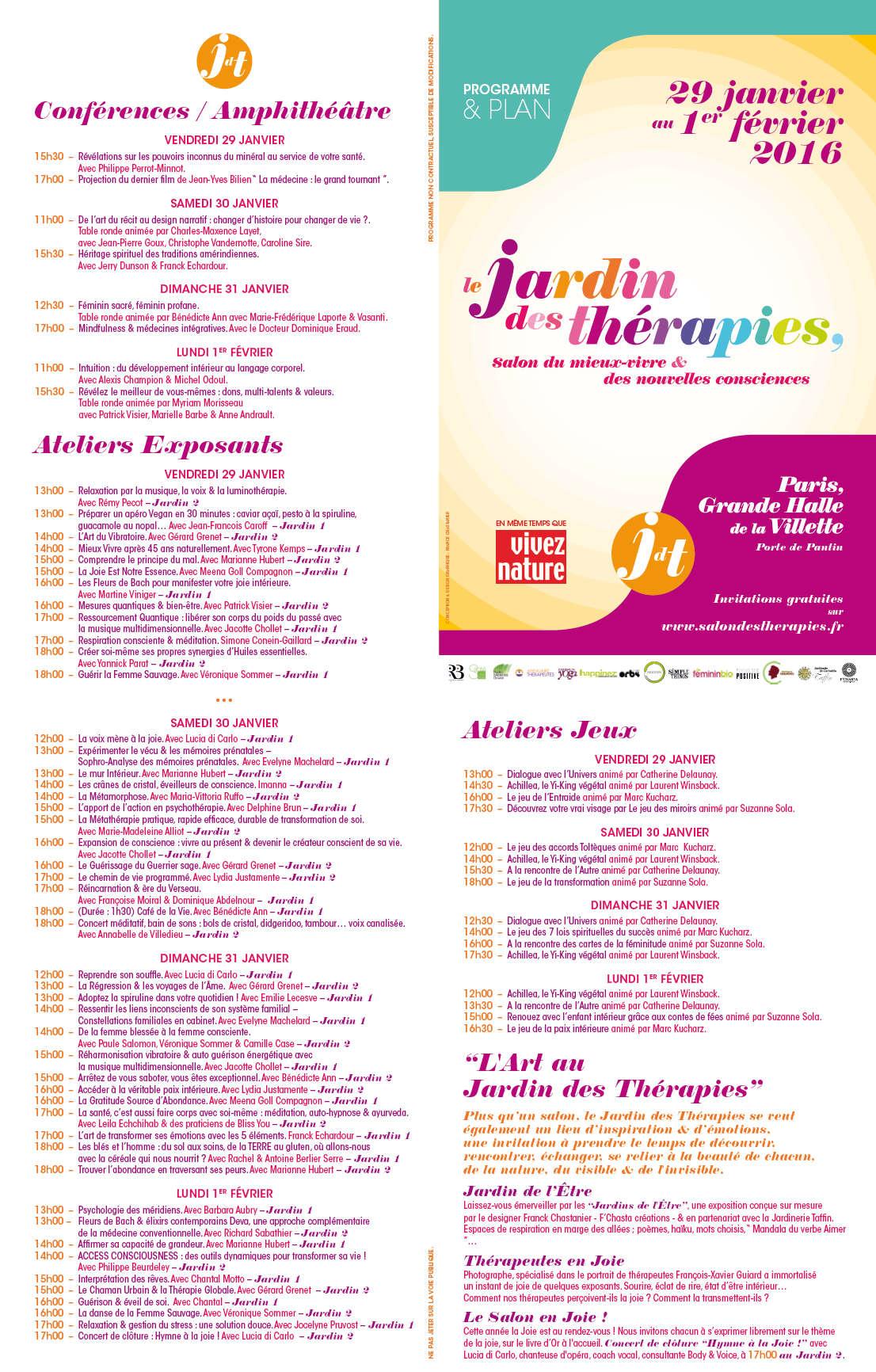 Le jardin des th rapies 2016 liste des exposants plan for Programme jardin
